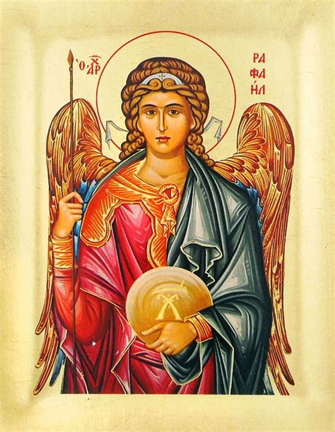 Archangel Raphael, Serigraph Orthodox Icon with Stand - at