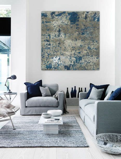 Large abstract painting teal blue navy grey gray white