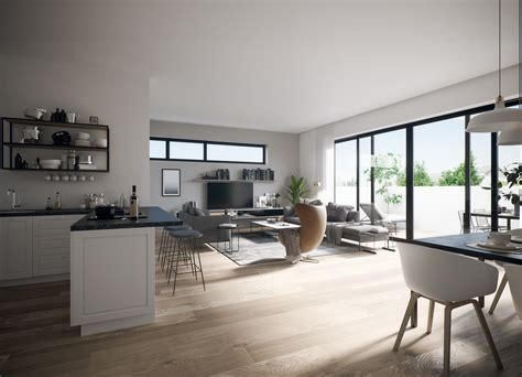 Interior visualization of a multi-family house on Behance
