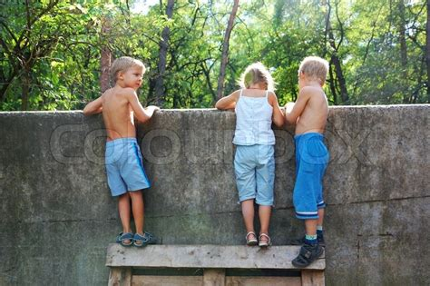 Three 5-6 year old kids looking over the fence | Stock