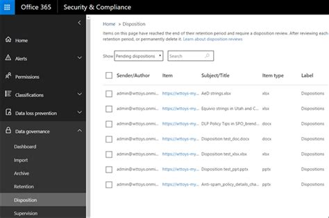 Overview of disposition reviews - Office 365
